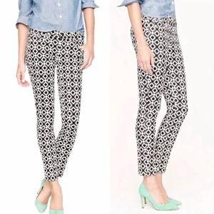 EUC J. Crew Toothpick Jeans in Geometric Print